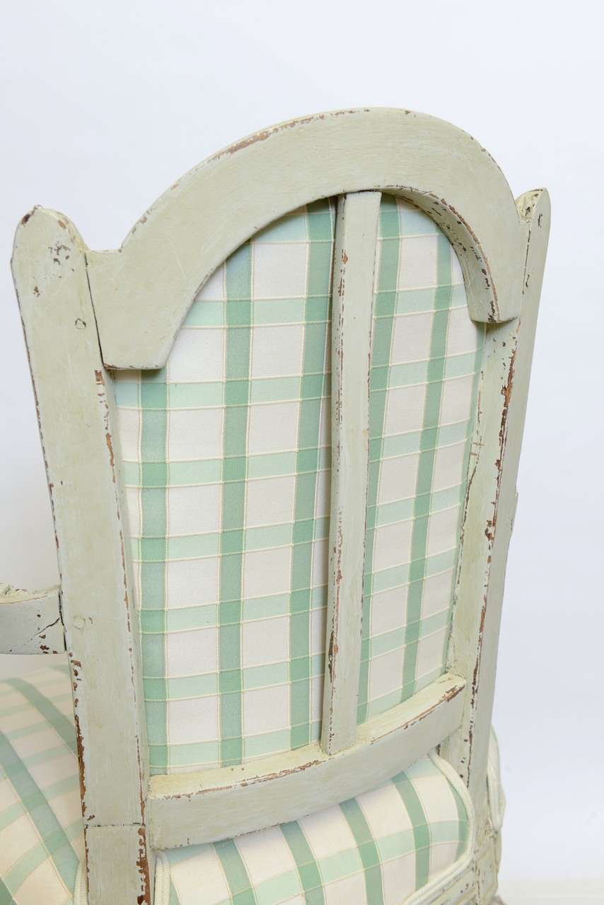 19th Century Pair of Antique Swedish Gustavian Painted Armchairs For Sale 5