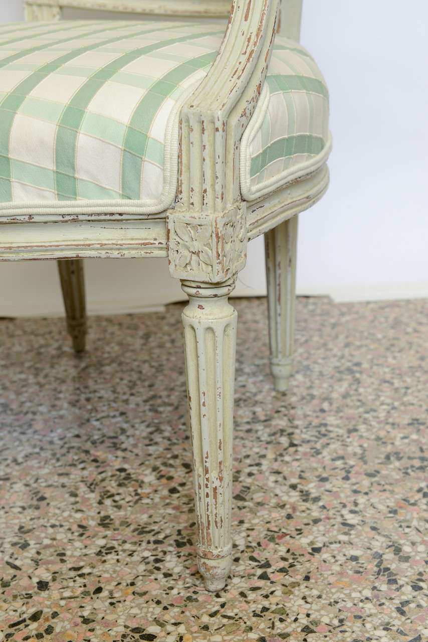 19th Century Pair of Antique Swedish Gustavian Painted Armchairs For Sale 6