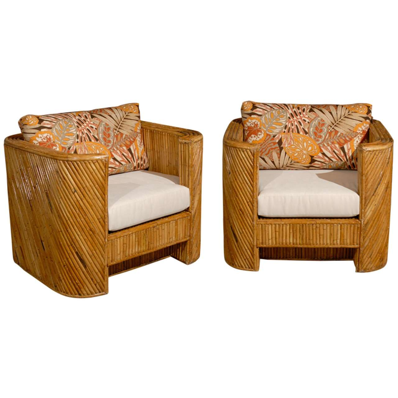 Fabulous Pair Of Bamboo Club Chairs In The Style Of