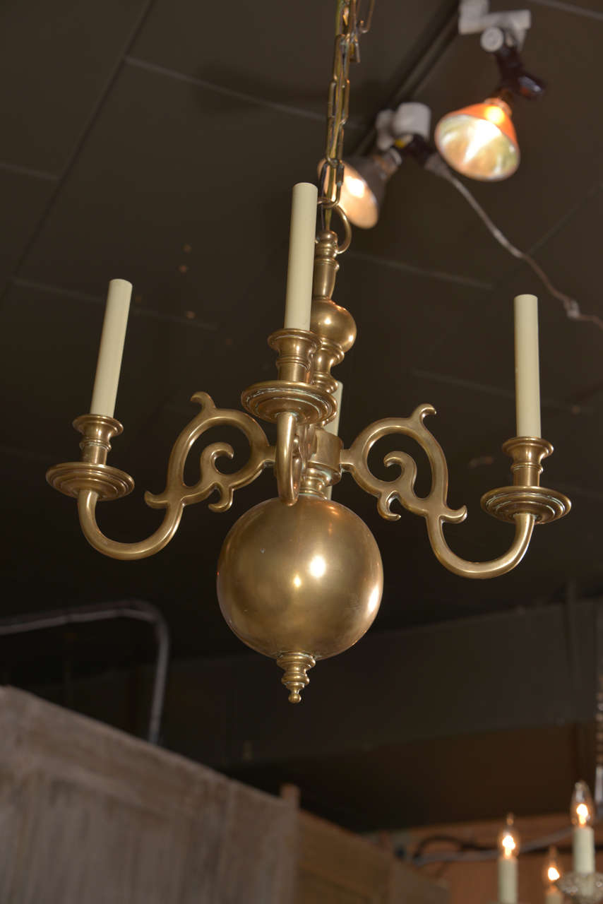 Dutch Style Low Country Brass Chandelier At 1stdibs