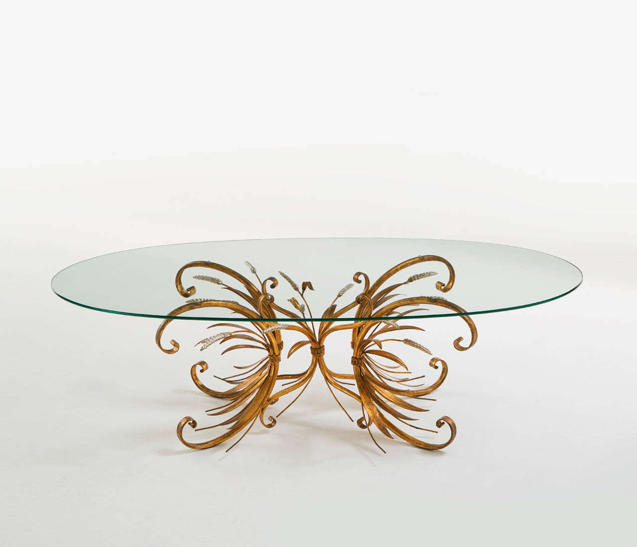 french brass and silver wheat sheaf coffee table with oval glass top 2