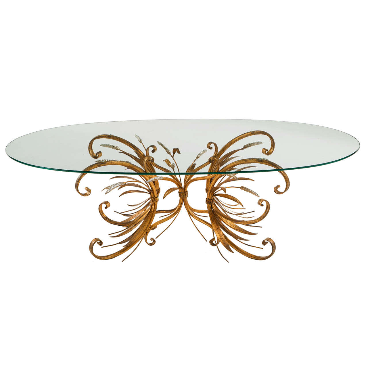 French Brass Coffee Table With Oval Glass Top For Sale At 1stdibs