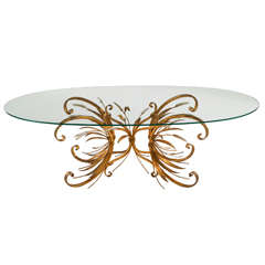 French Brass Coffee Table with Oval Glass Top