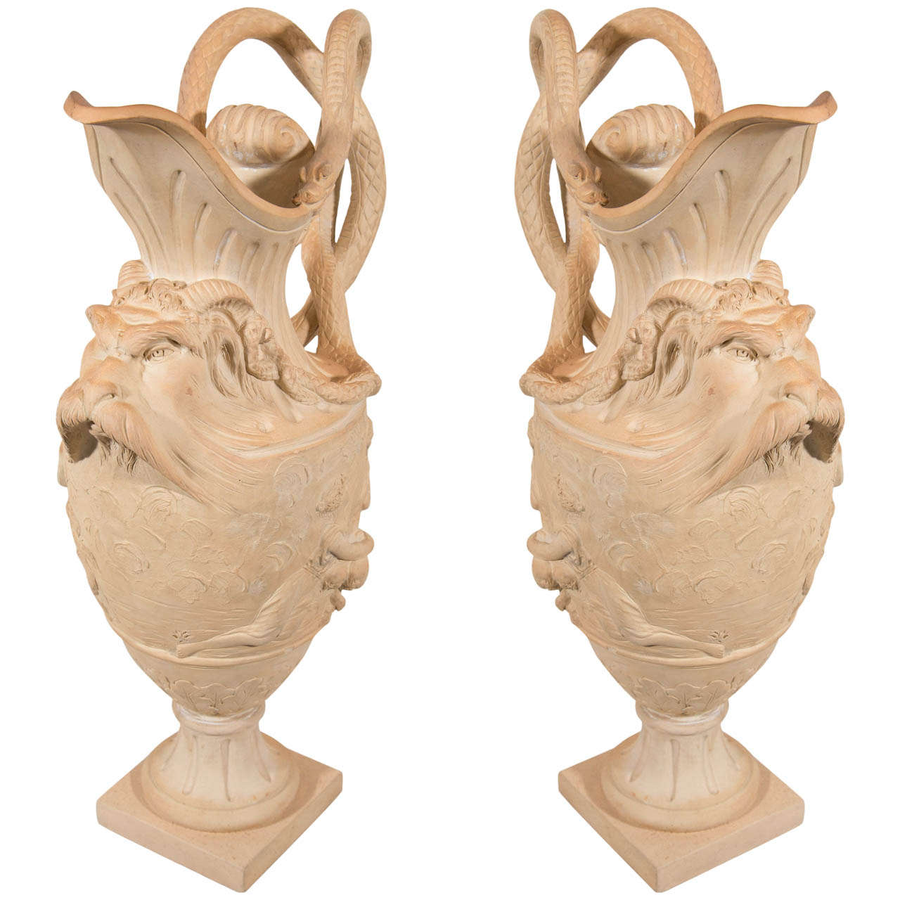 Antique Pair Terracotta Ewers Made in England circa 1820