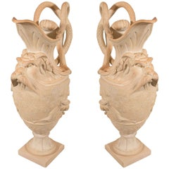 Antique Pair Terracotta Ewers Made in England circa 1820