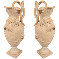 Antique Pair Terracotta Ewers