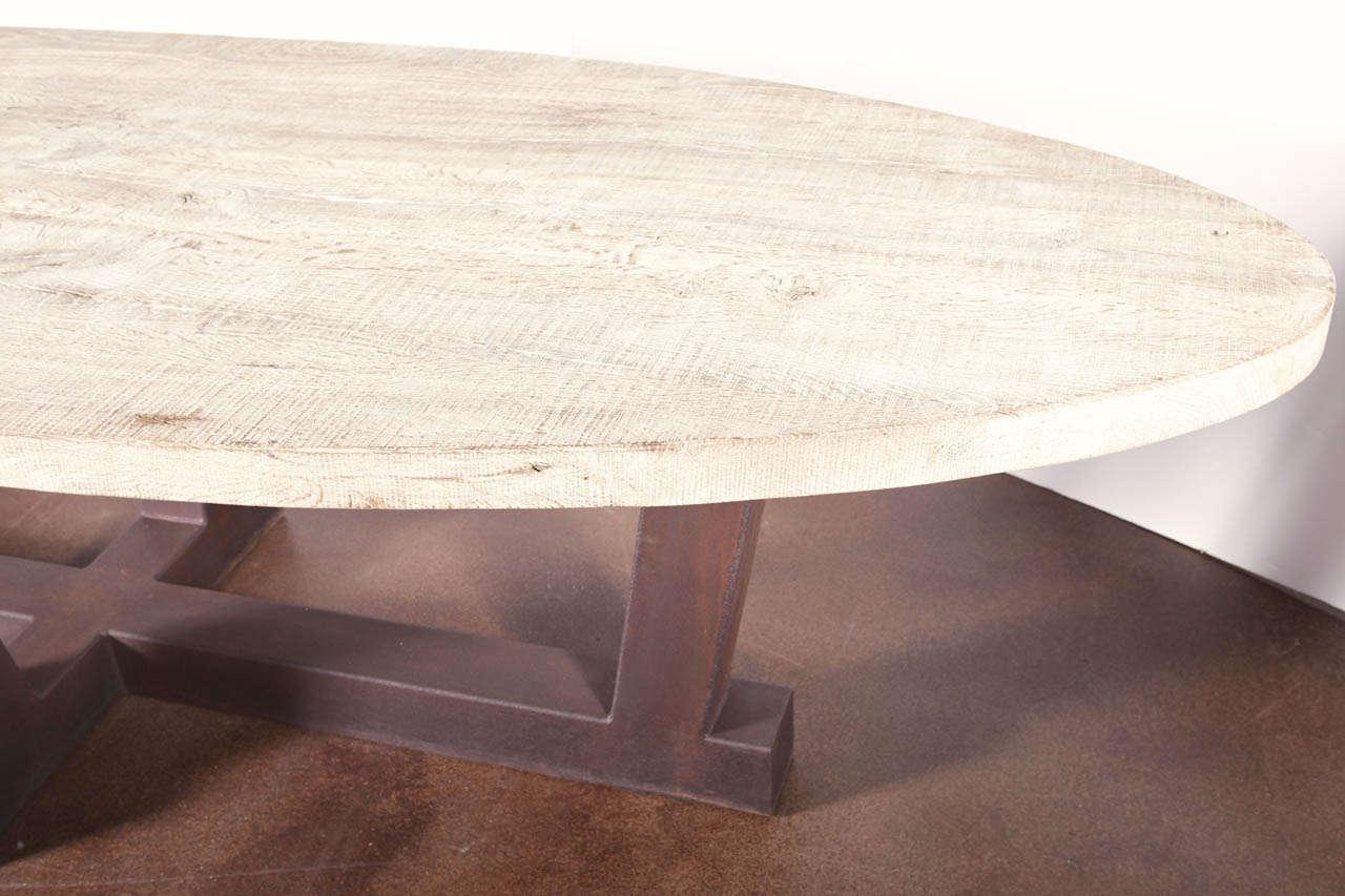 Transitional Style Oval Top Aged Oak Table At 1stdibs
