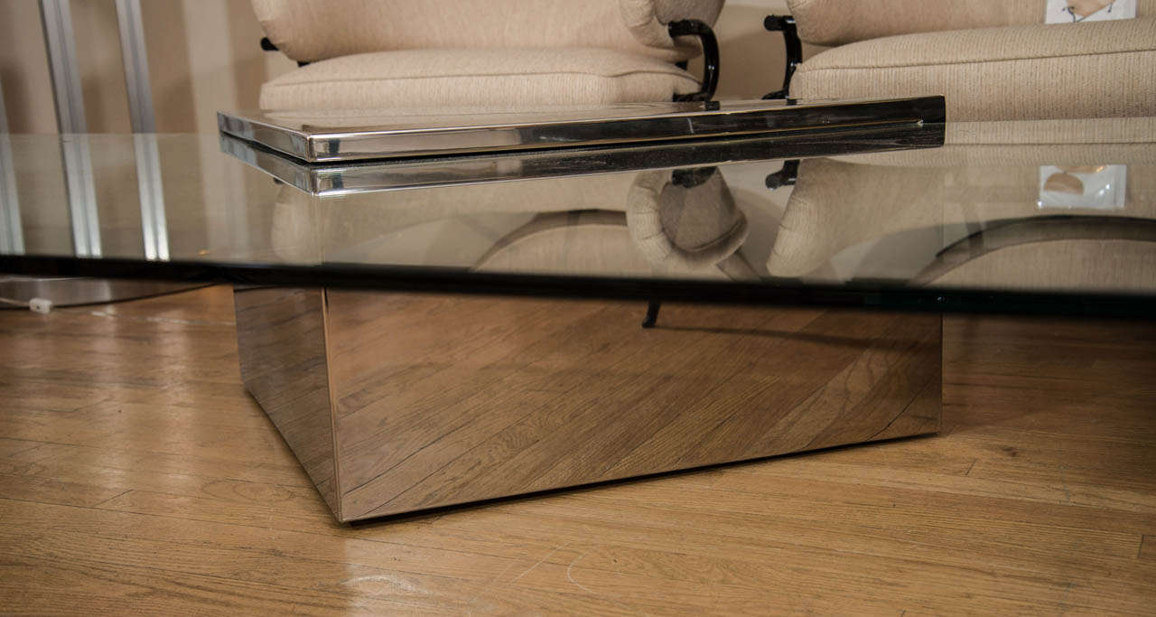 Rectangular Cantilevered Glass Coffee Table By Brueton At 1stdibs