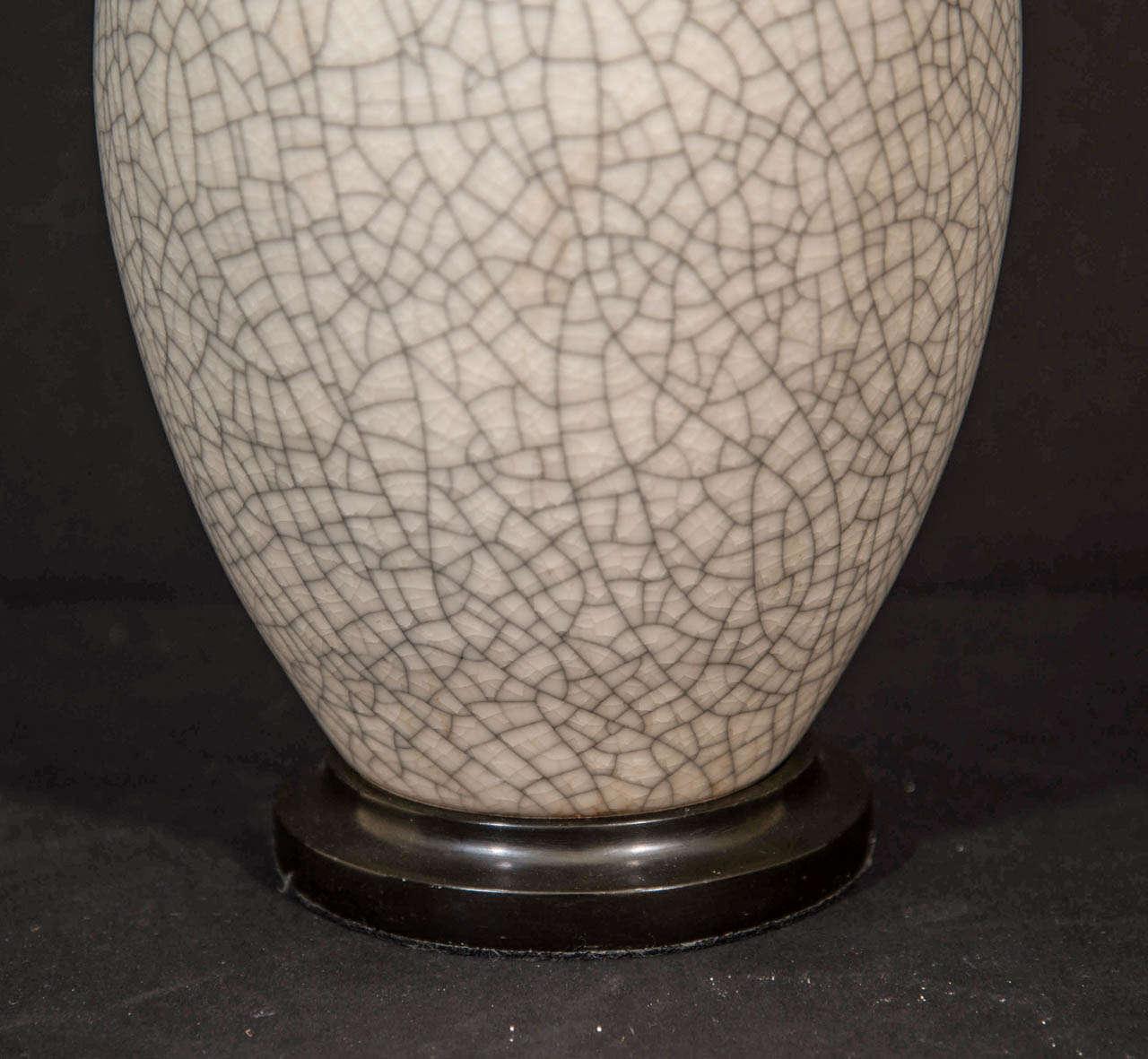 Ginger Jar Shaped Porcelain Crackleware Lamp At 1stdibs
