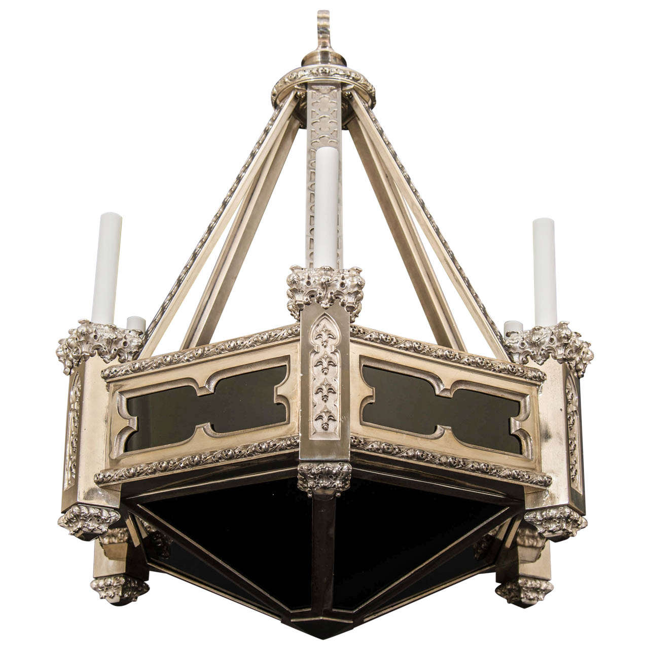 neo gothic style silvered bronze chandelier with dark