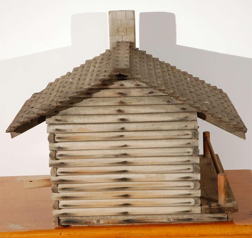 Folk Art Log Cabin Bird House At 1stdibs