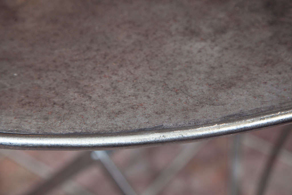 Contemporary Folding French Metal Tables Outdoor/Indoor For Sale