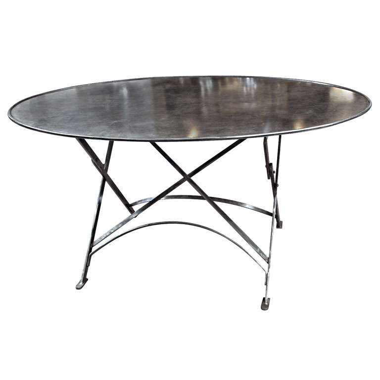 Folding French Metal Tables Outdoor/Indoor For Sale