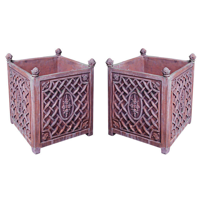 Pair of Terracotta Planters For Sale