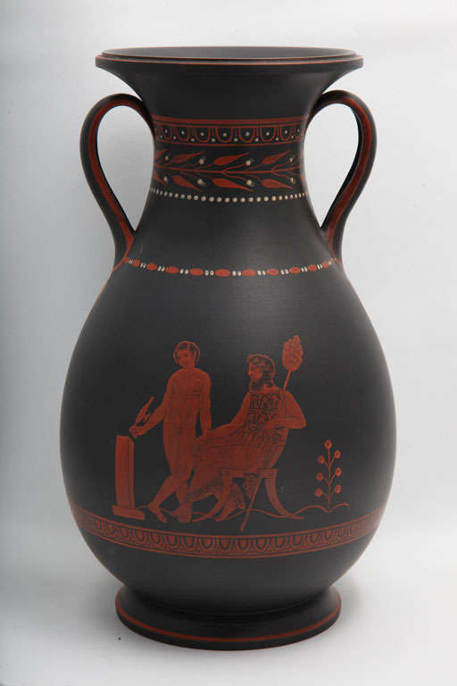 A rare Wedgwood two handled basalt vase with encaustic decoration of classical figures, upper case mark