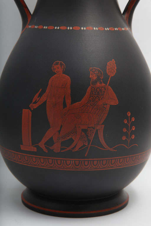 English A Rare Wedgwood Basalt Vase With Encaustic Decoration For Sale