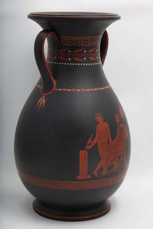 A Rare Wedgwood Basalt Vase With Encaustic Decoration In Excellent Condition For Sale In New York, NY