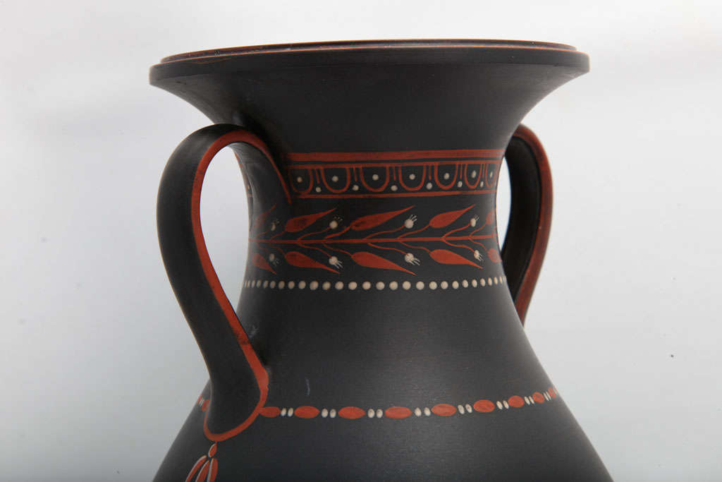 18th Century and Earlier A Rare Wedgwood Basalt Vase With Encaustic Decoration For Sale