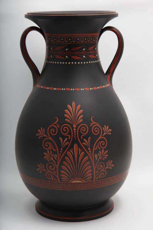 Porcelain A Rare Wedgwood Basalt Vase With Encaustic Decoration For Sale