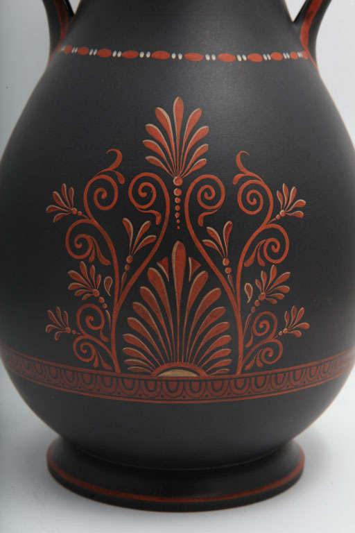 A Rare Wedgwood Basalt Vase With Encaustic Decoration For Sale 1