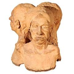 1971 Terracotta Three Heads Sculpture Signed Maynard