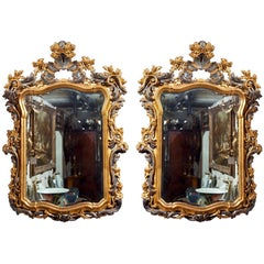 Pair Of  Carved And Painted Giltwood Mirrors