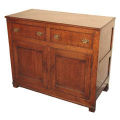 Antique English country oak cupboard.