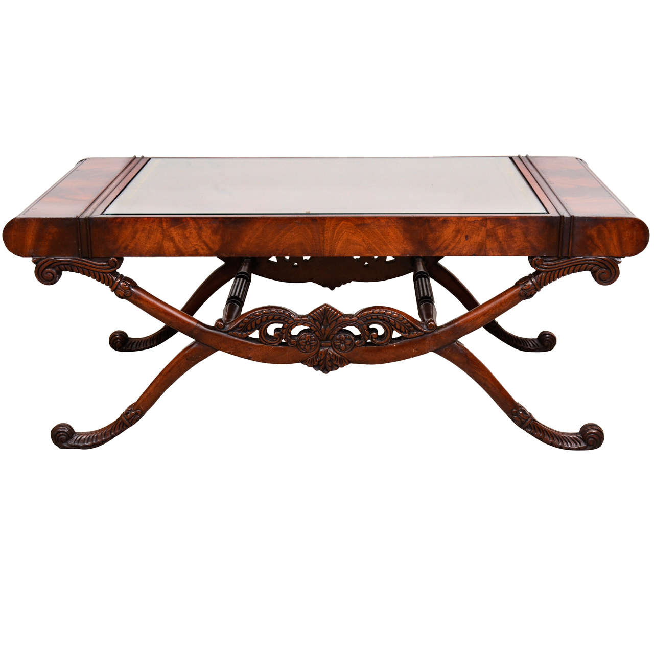 regency style mahogany and leather top coffee table at 1stdibs