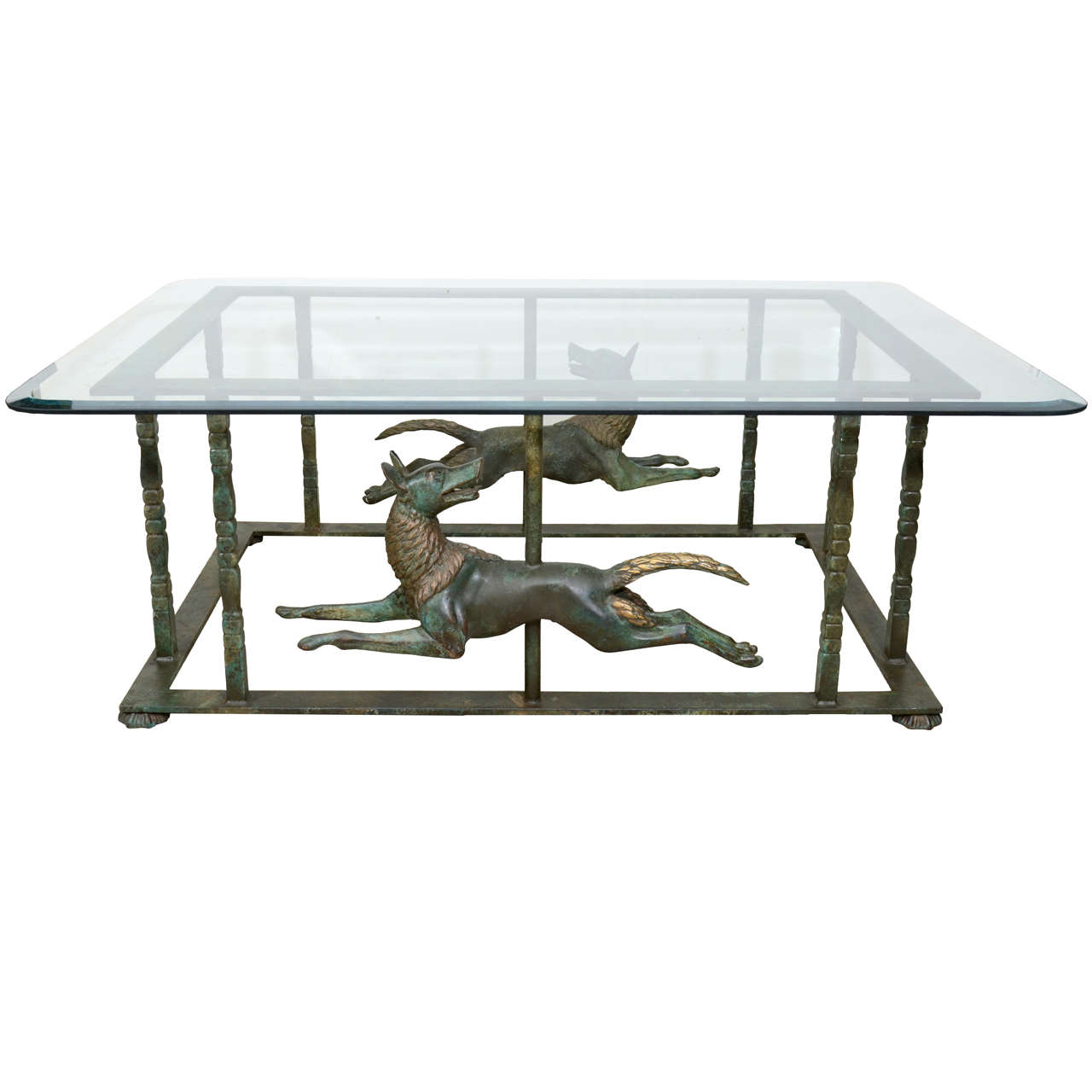Unique continental patinated bronze and metal coffee table for Bronze metal coffee table