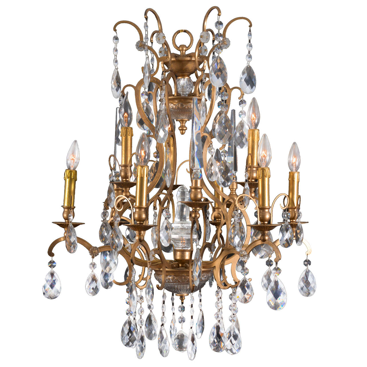 Lovely Twelve Light Crystal And Bronze Finish Chandelier