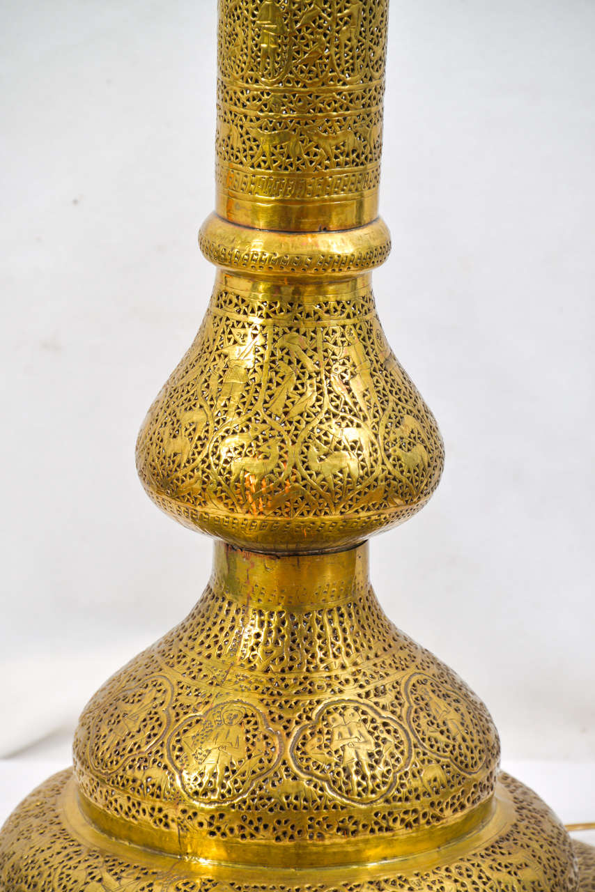 Moroccan pierced brass floor lamp at 1stdibs for Brass floor lamp india