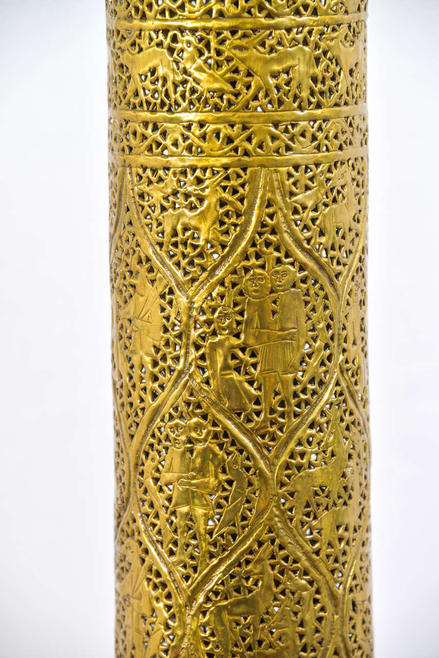 Moroccan Pierced Brass Floor Lamp At 1stdibs