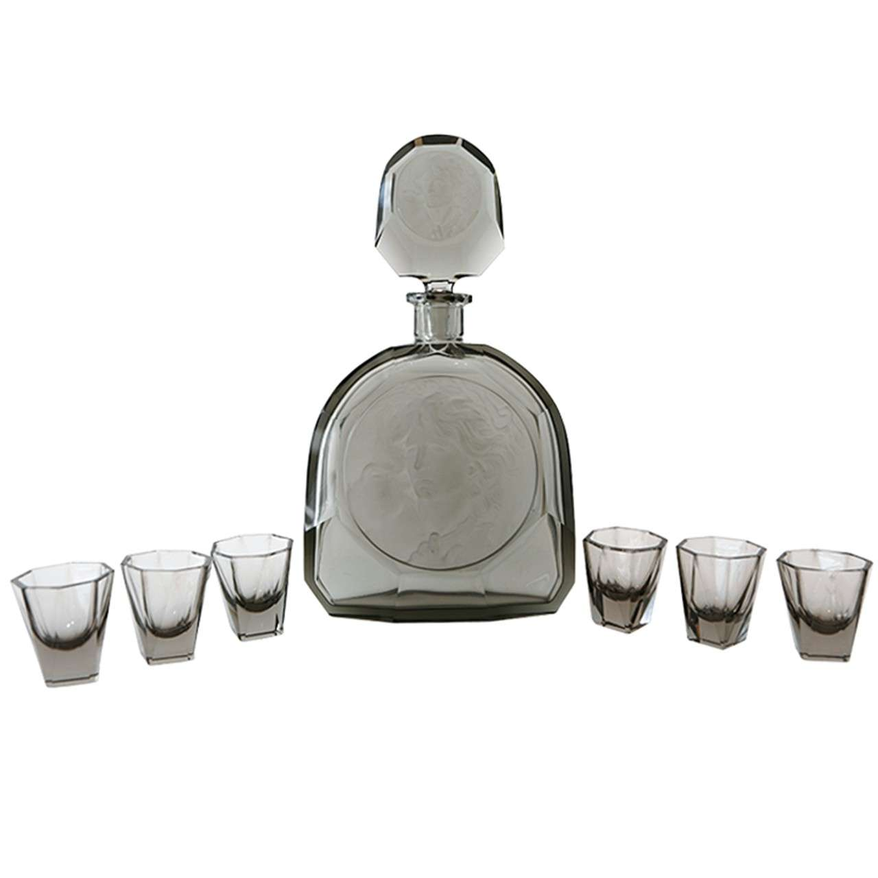 Art Deco Decanter & Set of Six Schnapps Glasses