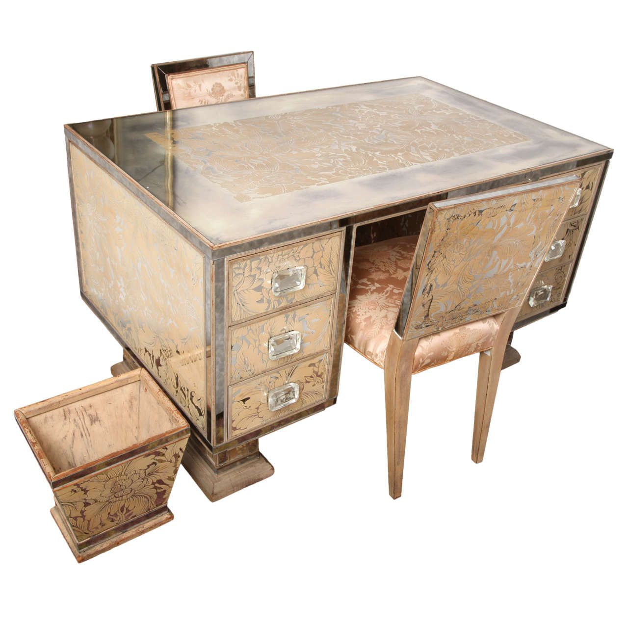 Extraordinary Eglomise Mirrored Partners Desk Vanity With