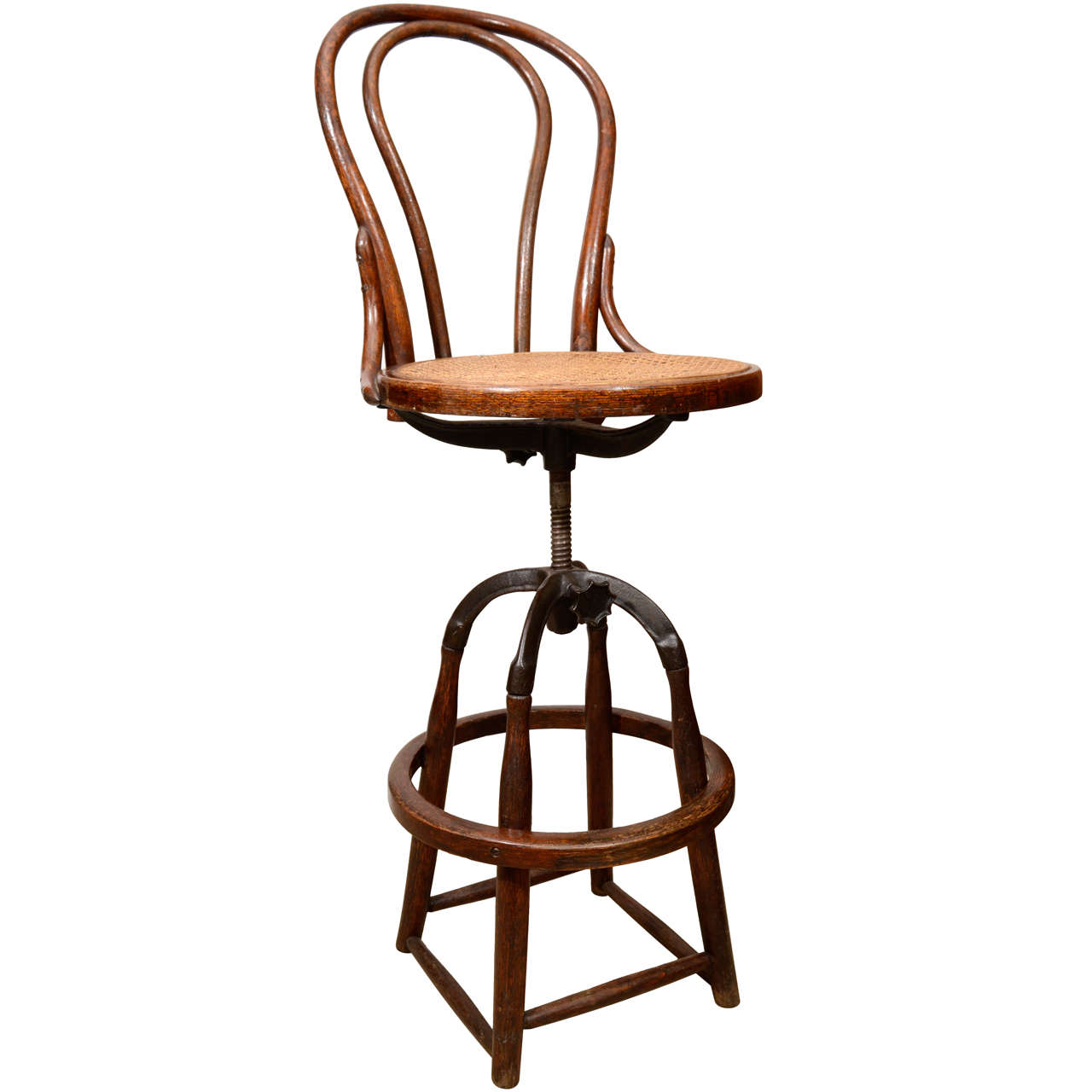 Vintage Industrial Adjustable Wood And Cane Seat Stool At