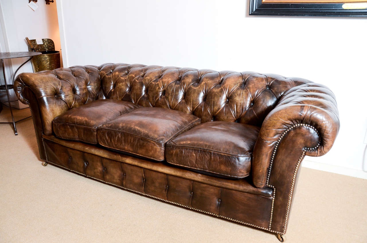 A Handsome 6 10 Long Clic English Chesterfield Sofa From The 1920 S With Original