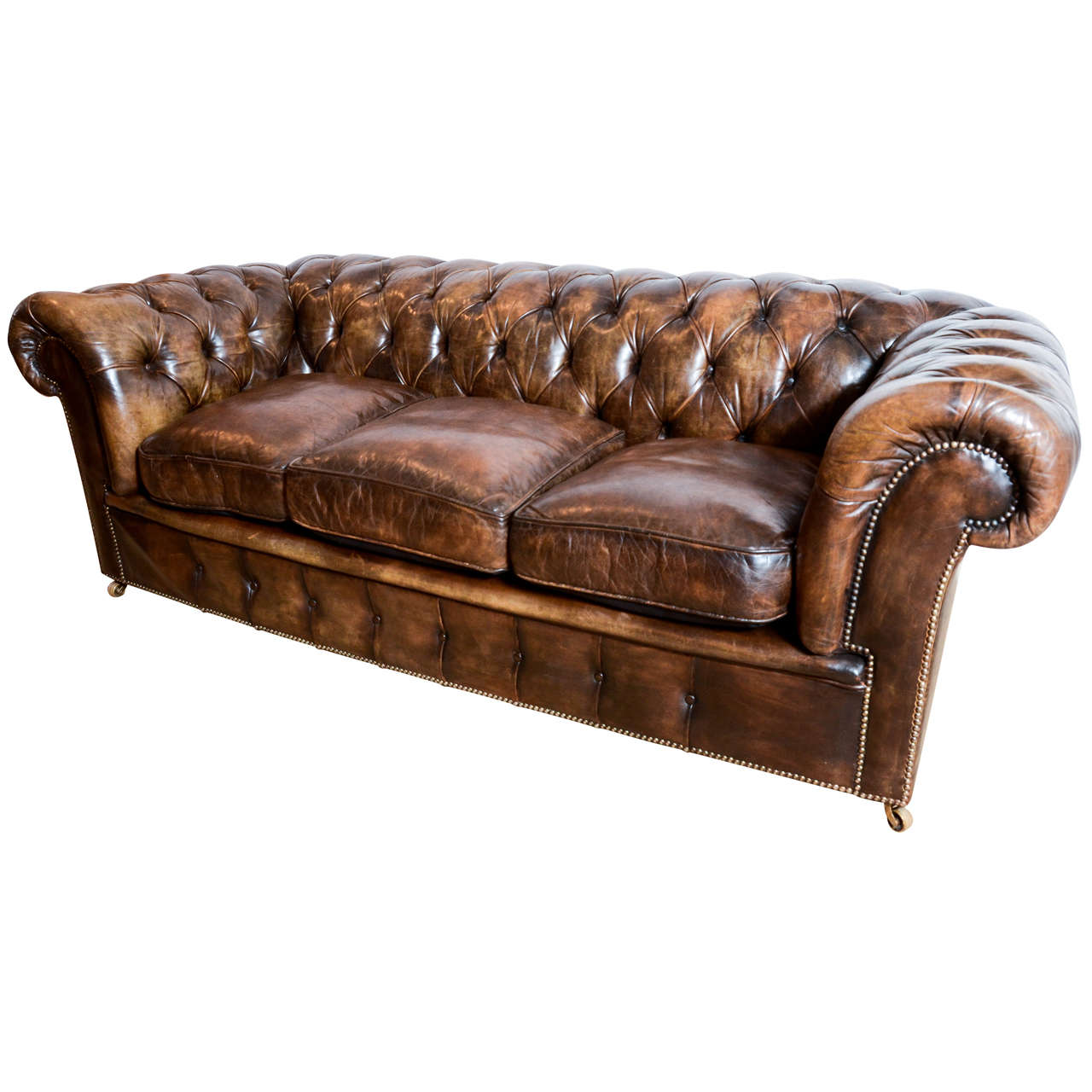 1920 S English Upholstered Leather Chesterfield Sofa For