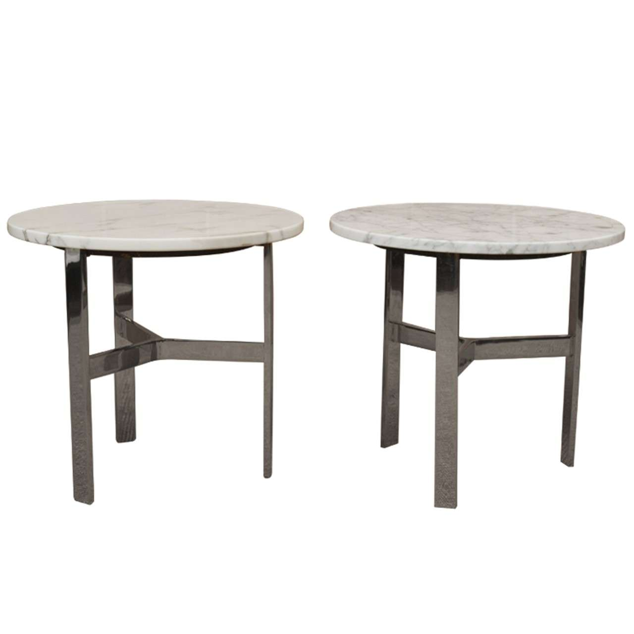Marble And Chrome Side Tables At 1stdibs