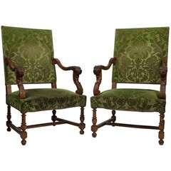 Charles II Style Pair of Dark Walnut Arm Chairs