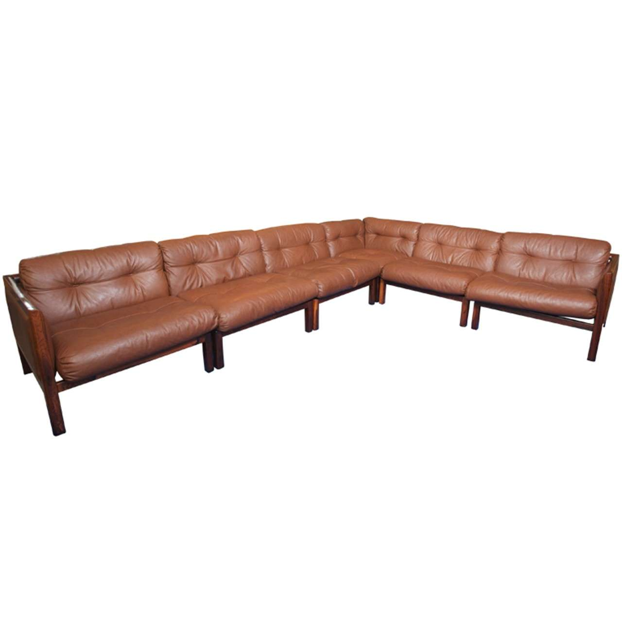 xl 1970 39 s danish rosewood and leather modular sofa. Black Bedroom Furniture Sets. Home Design Ideas