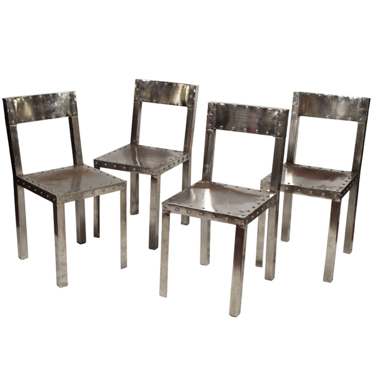 Four Unique Handmade Steel Metal Chairs At 1stdibs