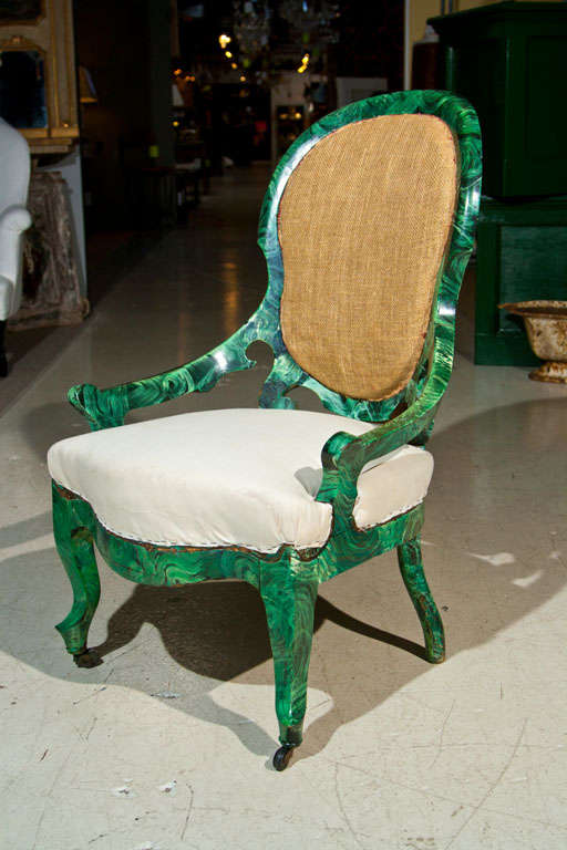 PAIR c1860 French Occasional Chairs in Faux Malachite 3