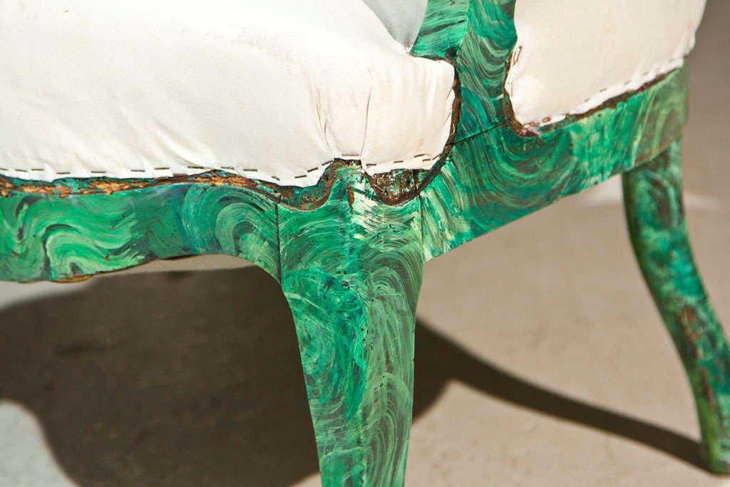 PAIR c1860 French Occasional Chairs in Faux Malachite 4