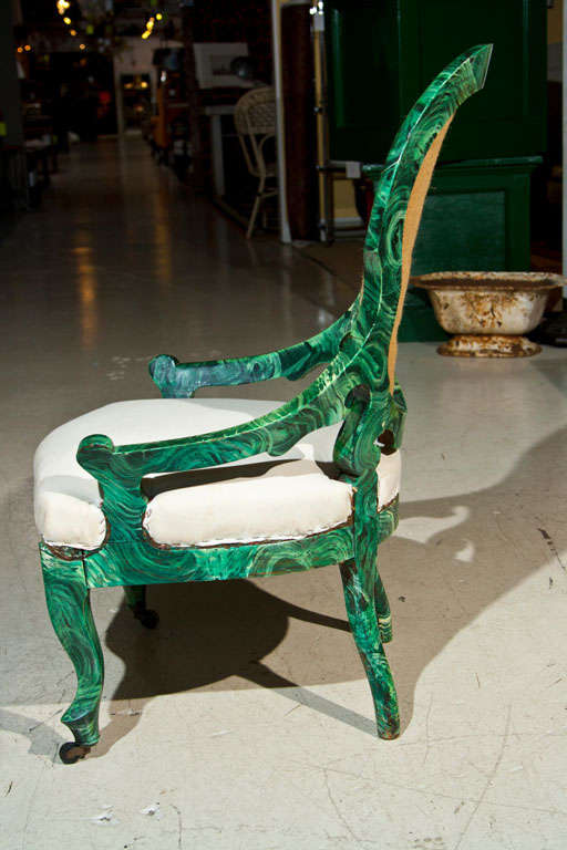 PAIR c1860 French Occasional Chairs in Faux Malachite 7