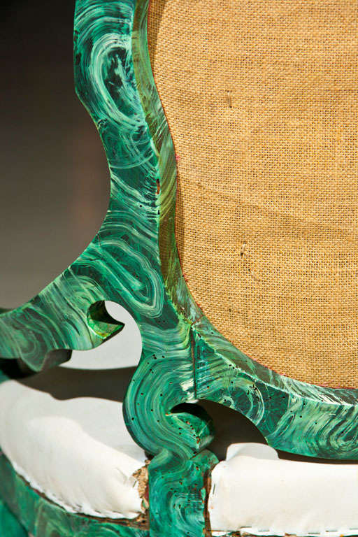 PAIR c1860 French Occasional Chairs in Faux Malachite 9