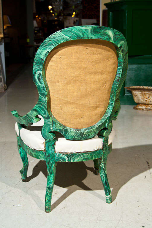 PAIR c1860 French Occasional Chairs in Faux Malachite 10