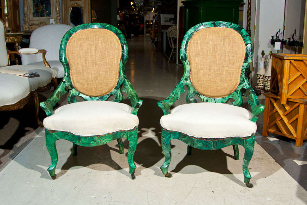 PAIR c1860 French Occasional Chairs in Faux Malachite 2