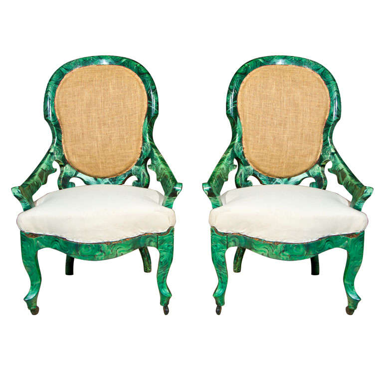 PAIR c1860 French Occasional Chairs in Faux Malachite 1