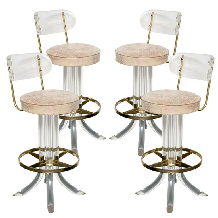Four Lucite And Brass Swivel Bar Stools At 1stdibs