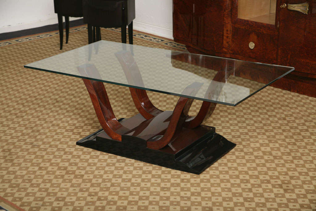 French Art Deco Palisander Curved Coffee Table Glass Top At 1stdibs